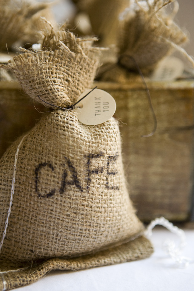 Roasted Coffee Beans In A Small Bag Sack Made From Burlap Stock Photo