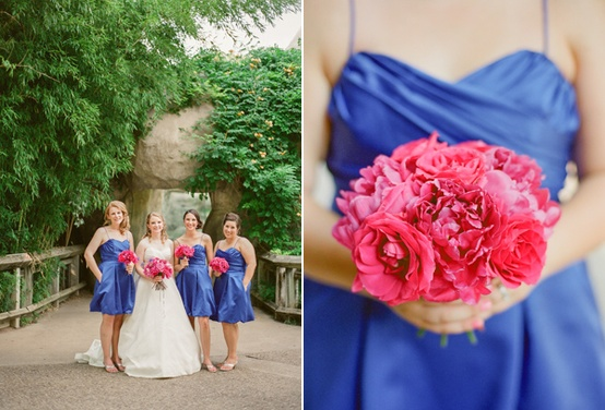 Bright cobalt blue bridesmaid dresses fuchsia pink for Fuchsia dress for wedding