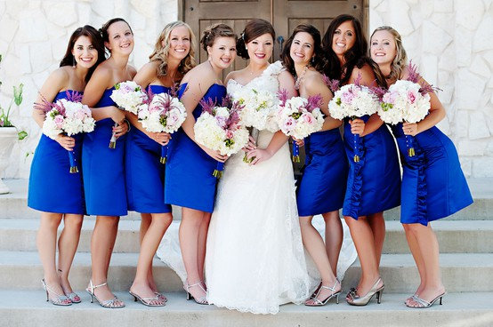 cobalt blue bridesmaid dress, wedding party, wedding flowers